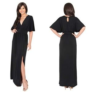 f85c0dc13a5 Womens Long Kimono Wrap V-Neck Maxi Dress w Slit